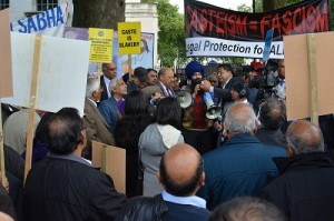 A view of protest demonstration at London against caste discrimination