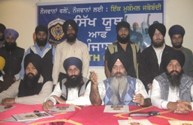 Dal Khalsa leaders addressing the Press at Hoshiarpur