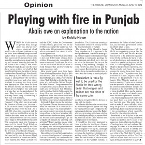 Kuldip Nayar's article opposing Sikh memorial for Saka Darbar Sahib (June 1984) and Akal Takhat's decision to honor Bhai Balwant Singh. This article was published in The Tribune on 18 July, 2012. Click on this image for larger view.