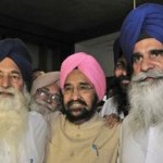 Didar Singh Nalwi (L), Harmohinder Singh Chatha (C) and Jagdish Singh Jhinda (R) who were excommunicated by Akal Takhat Jathedar Giani Gurbachan Singh.