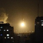 A night view of Gaza amid Israeli strike