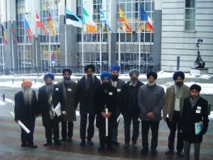 UK and Italian Sikh representatives outside the European Parliament