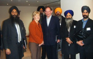 Sikh representatives pictured with Edward McMillan-Scott MEP (Vice-President of the European Parliament and Britain's most senior MEP) and Linda McAvan MEP