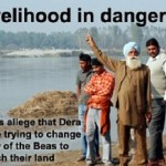Change of flow of river beas triggered by Dera Radha Swami Beas endangers livelihood of farmers | Photo Source The Tribune, Jalandhar Edn., (05 December 2008)
