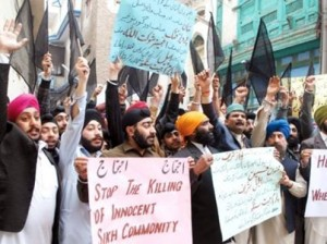 Pak Sikhs protesting against persecution