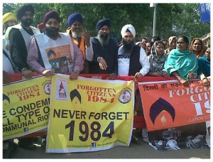Protest outside Delhi Court by family members of victims of Sikh Genocide 1984 and others
