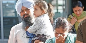 Ranvir Singh Lali with son Bachint and wife Shubhneet Kaur at Auckland Airport after mother and son were released.