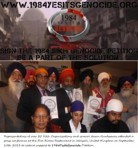UK Sikhs support 1984 Yes It's Genocide Petition